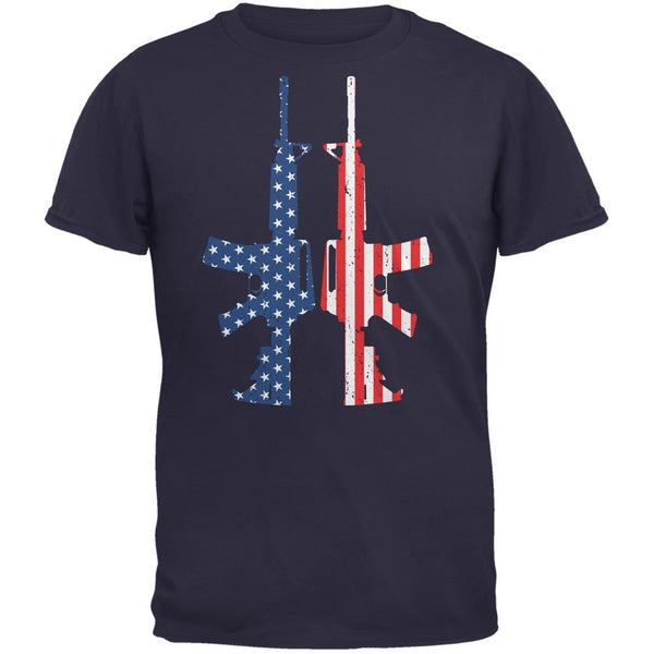 Stars And Stripes AR15  Navy Adult T-Shirt