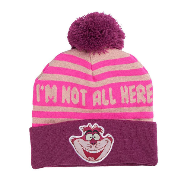 Alice in Wonderland - Cheshire Cat Intarsia Cuff Pom Pom Beanie