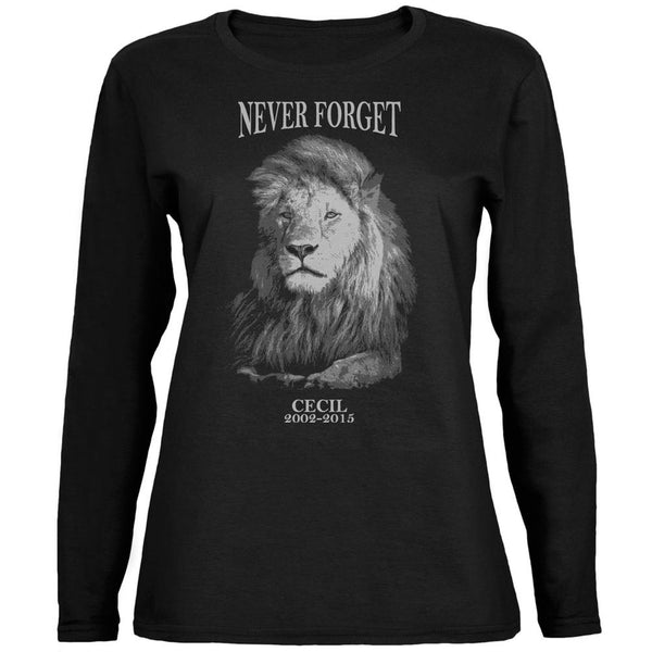 Cecil The Lion Never Forget Black Womens Long Sleeve T-Shirt