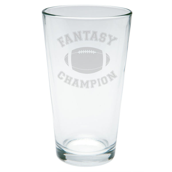Fantasy Football Champion Etched Pint Glass