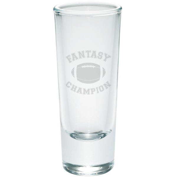 Fantasy Football Champion Etched Shot Glass Shooter