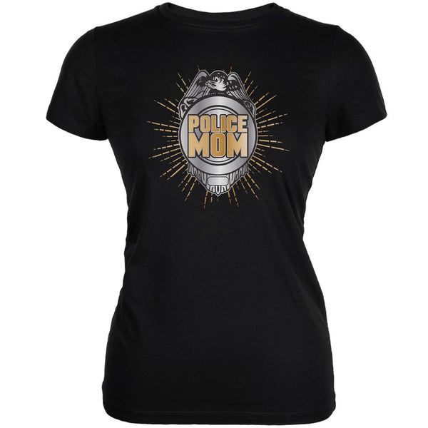 Police Mom Black Juniors Soft T-Shirt