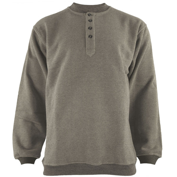 Grey Henley Adult Pullover Sweatshirt