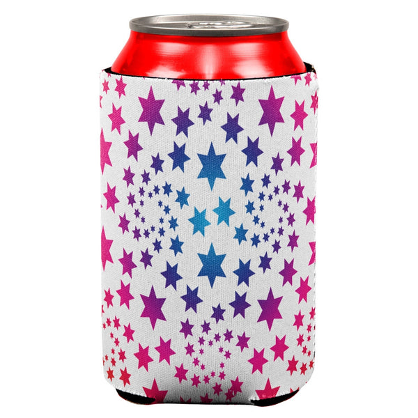 Rainbow Star Swirls All Over Can Cooler