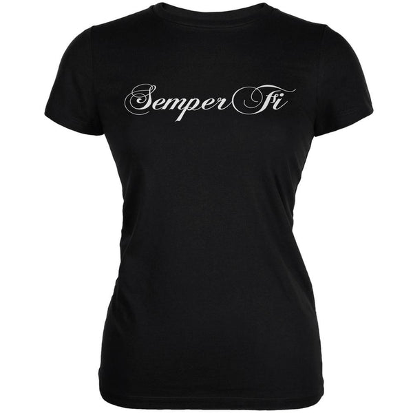 Semper Fi Script Black Juniors Soft T-Shirt
