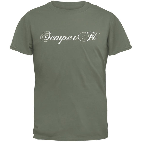 Semper Fi Script Military Green Adult T-Shirt