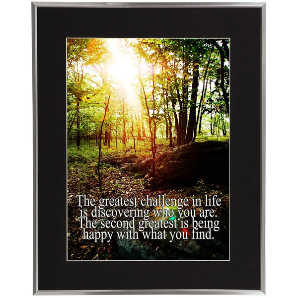 Life Greatest Challenge Inspirational Quote Silver Framed Wall Art w/ Black Mat