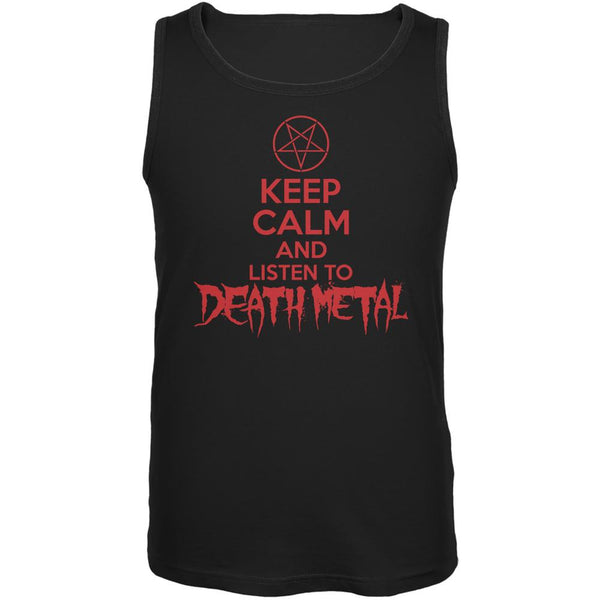 Keep Calm And Listen To Death Metal Black Adult Tank Top