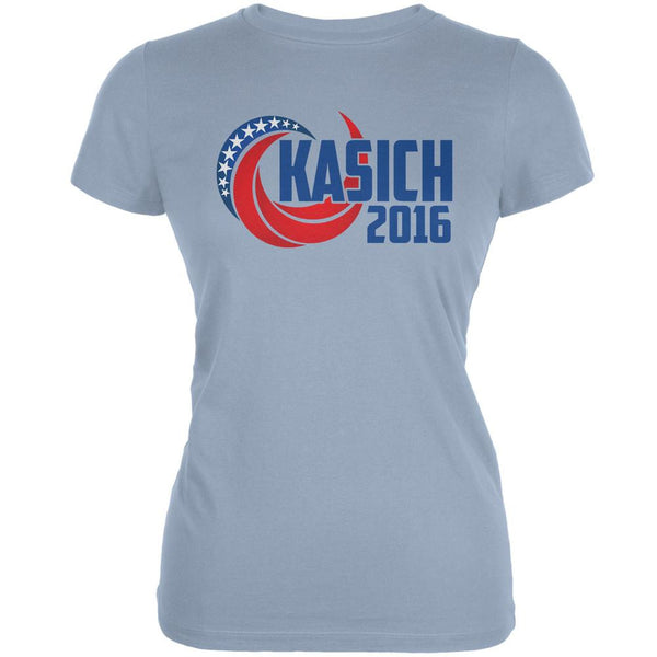 Election Kasich 2016 Swoosh Light Blue Juniors Soft T-Shirt