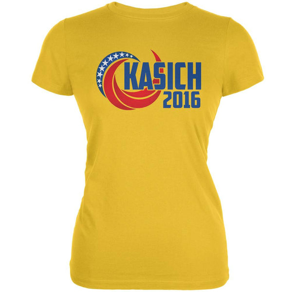 Election Kasich 2016 Swoosh Bright Yellow Juniors Soft T-Shirt