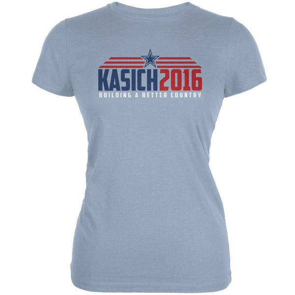 Election Kasich 2016 Building A Better Country Light Blue Juniors Soft T-Shirt