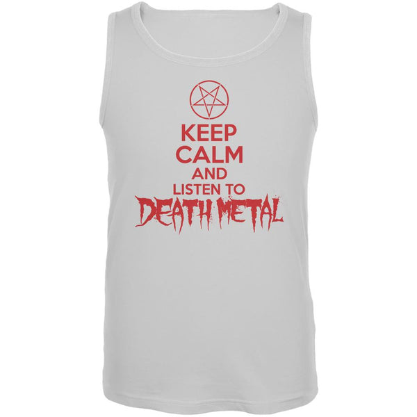 Keep Calm And Listen To Death Metal White Adult Tank Top