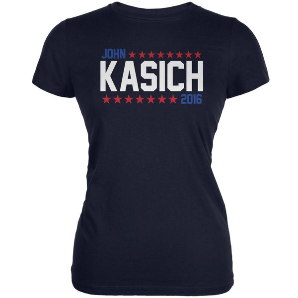 Election John Kasich 2016 American Stars Navy Juniors Soft T-Shirt