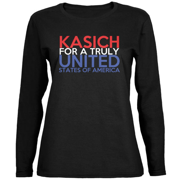 Election 2016 John Kasich Truly United Black Womens Long Sleeve T-Shirt