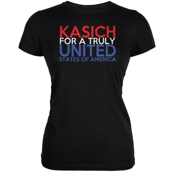 Election 2016 John Kasich Truly United Black Juniors Soft T-Shirt
