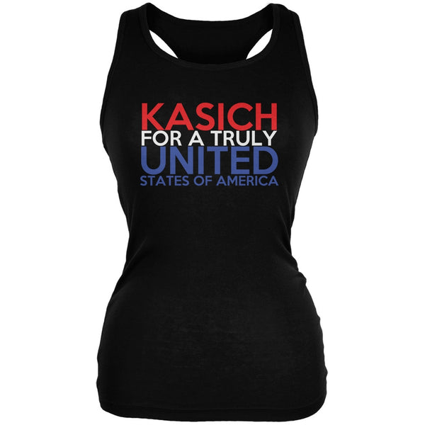 Election 2016 John Kasich Truly United Black Juniors Soft Tank Top