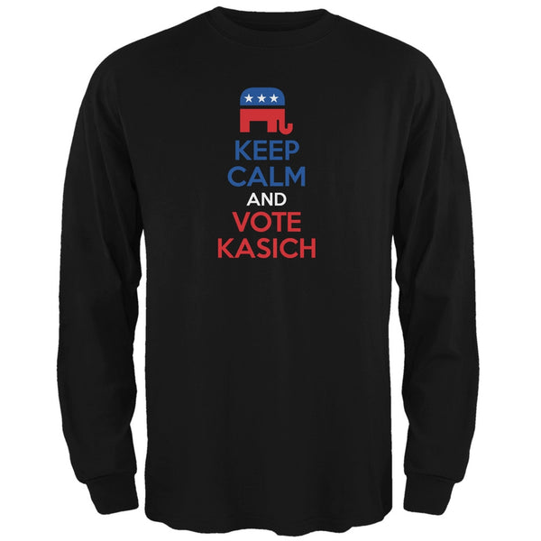 Election 2016 Keep Calm Vote John Kasich Black Adult Long Sleeve T-Shirt