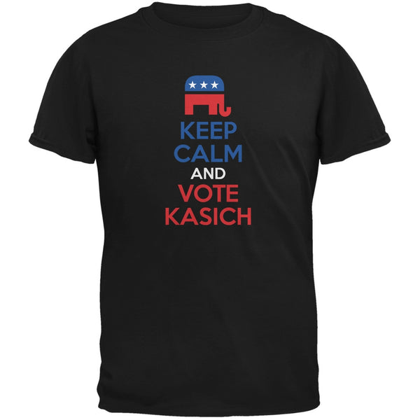 Election 2016 Keep Calm Vote John Kasich Black Adult T-Shirt