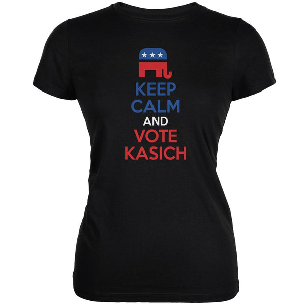 Election 2016 Keep Calm Vote John Kasich Black Juniors Soft T-Shirt