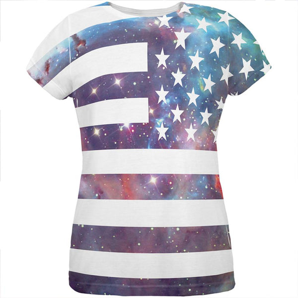 Galaxy American Flag All Over Womens T-Shirt