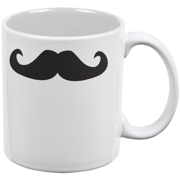 Mustache White All Over Coffee Mug