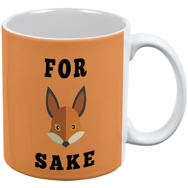 For Fox Sake White All Over Coffee Mug