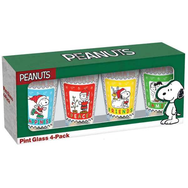 Peanuts - Holiday Stamps 4 Pack Pint Glass Set
