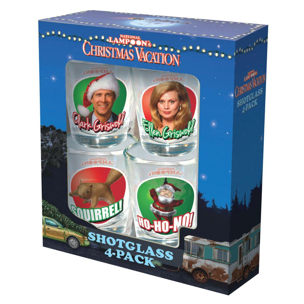 christmas vacation scenes 4 pack shot glass set - Christmas Vacation Scenes