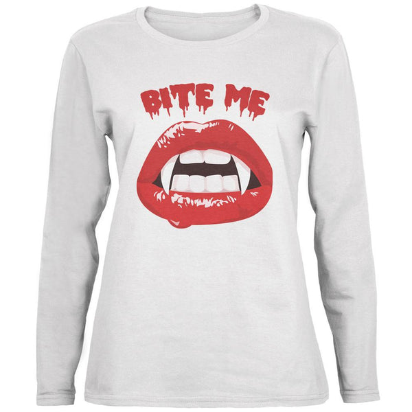 Halloween Vampire Bite Me White Womens Long Sleeve T-Shirt