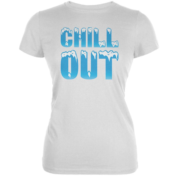 Chill Out White Juniors Soft T-Shirt