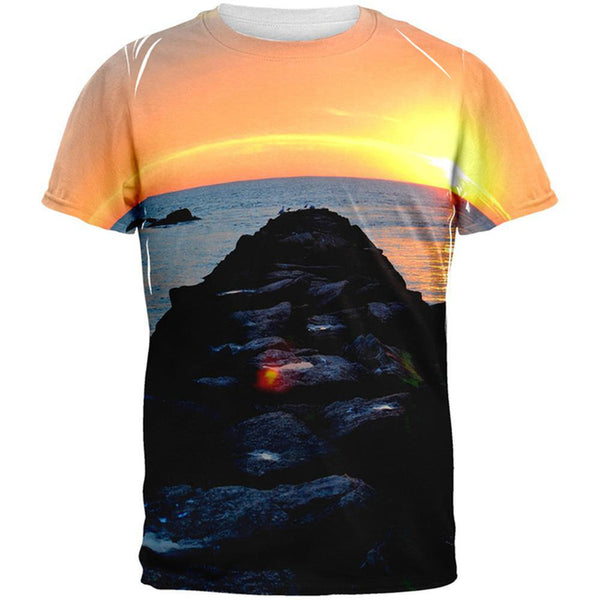 Beach Sunset Jetty Pete Cohen All Over Adult T-Shirt