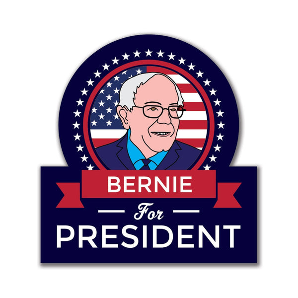Election 2016 Bernie Sanders President Ribbon Kiss Cut 4x3.5in. Sticker