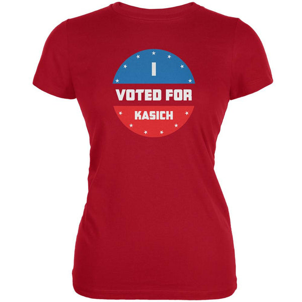 Election 2016 I Voted For Kasich Red Juniors Soft T-Shirt