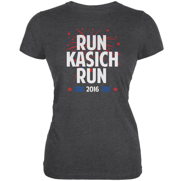 Election 2016 Run Kasich Run Dark Heather Juniors Soft T-Shirt