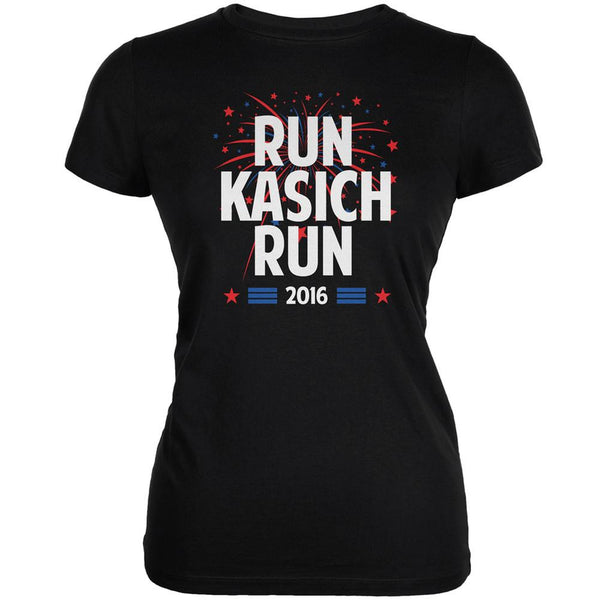 Election 2016 Run Kasich Run Black Juniors Soft T-Shirt
