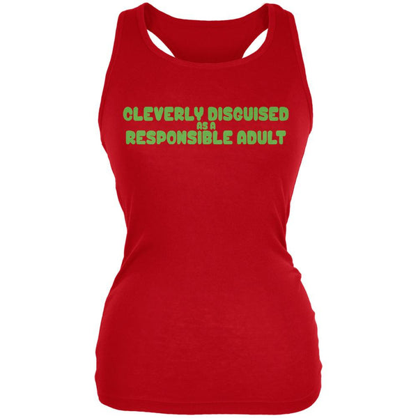 Funny Cleverly Disguised As A Responsible Adult Red Juniors Soft Tank Top