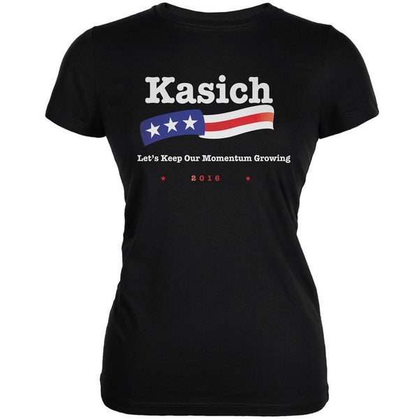 Election 2016 Kasich Momentum Growing Black Juniors Soft T-Shirt