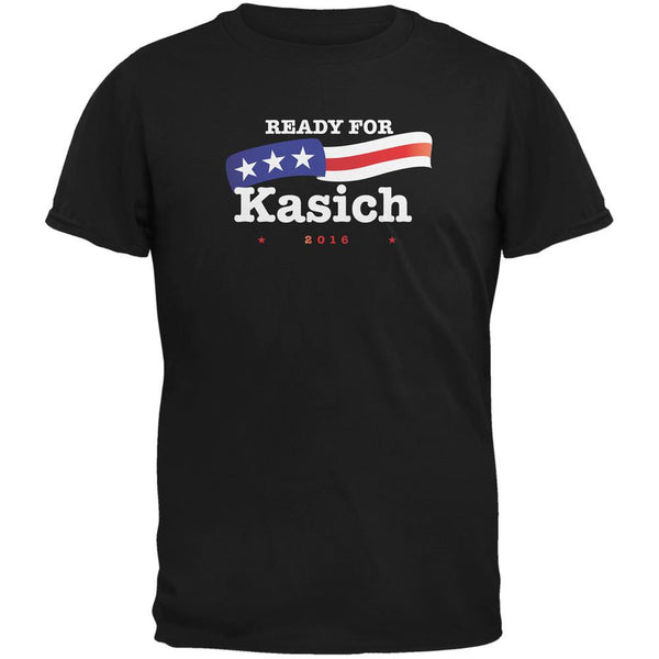 Election 2016 Ready for Kasich Black Adult T-Shirt