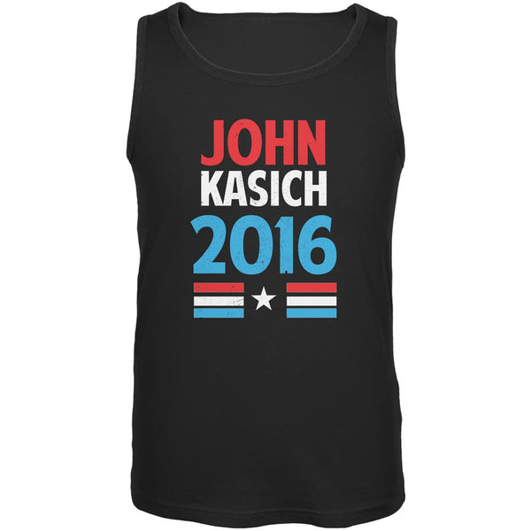 Election 2016 Kasich Vintage Text Black Adult Tank Top