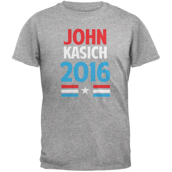 Election 2016 Kasich Vintage Text Heather Grey Adult T-Shirt