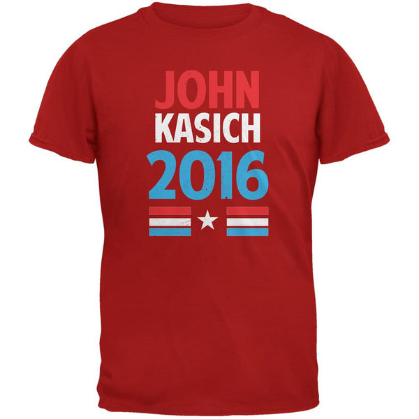 Election 2016 Kasich Vintage Text Red Adult T-Shirt