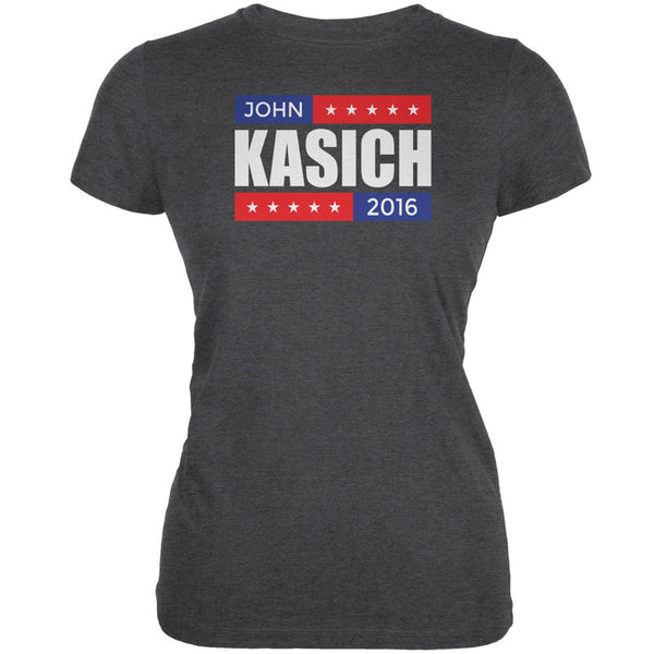 Election 2016 John Kasich Stacked Dark Heather Juniors Soft T-Shirt
