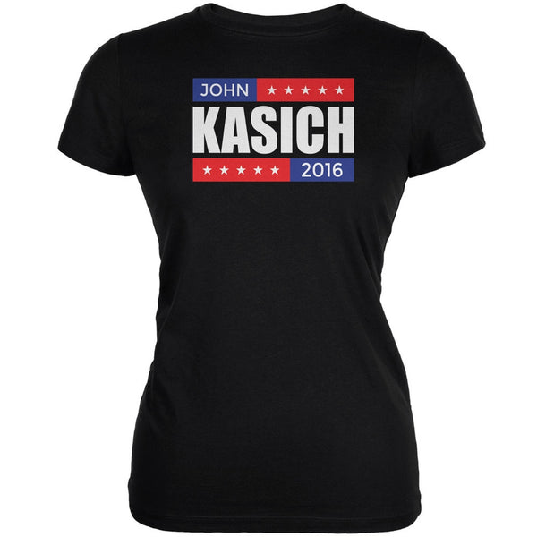 Election 2016 John Kasich Stacked Black Juniors Soft T-Shirt