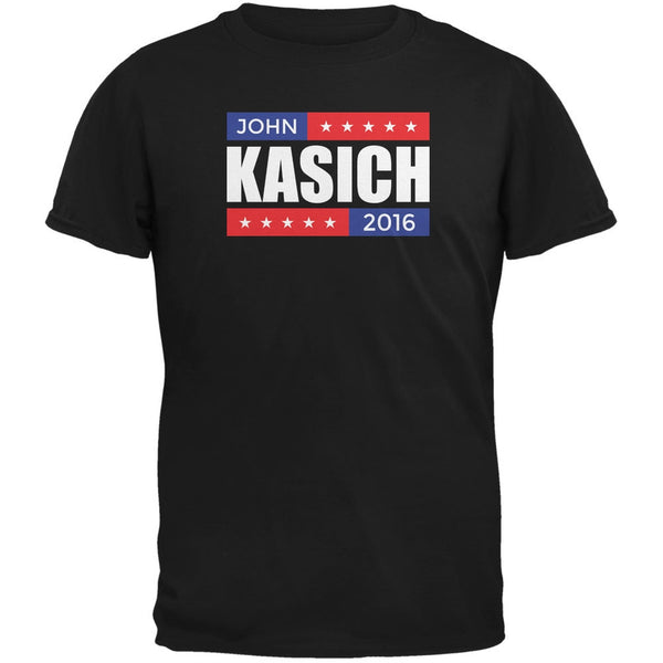 Election 2016 John Kasich Stacked Black Adult T-Shirt