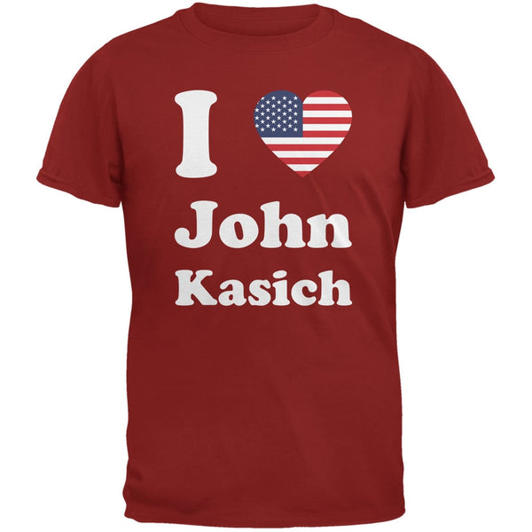 Election 2016 I Heart John Kasich Cardinal Red Adult T-Shirt