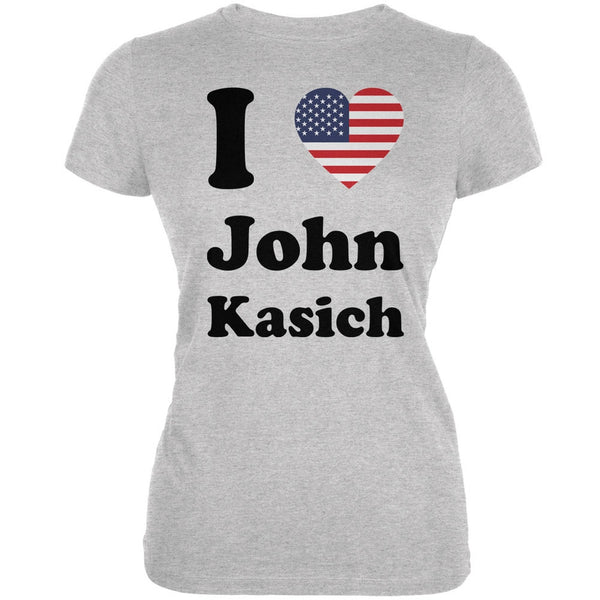 Election 2016 I Heart John Kasich Heather Grey Juniors Soft T-Shirt