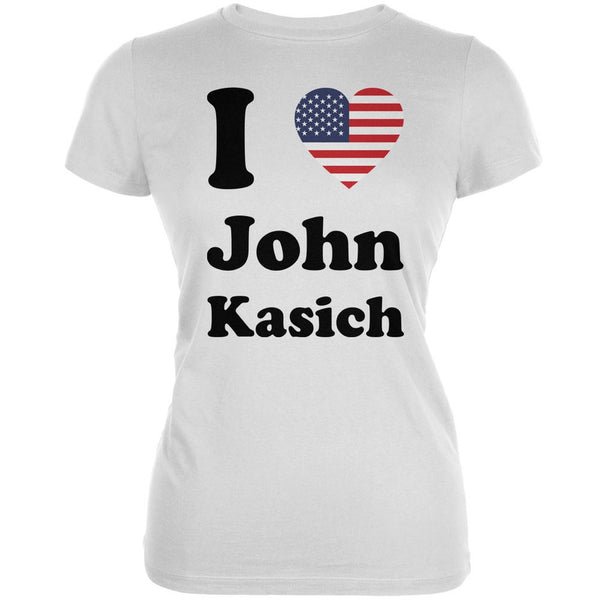 Election 2016 I Heart John Kasich White Juniors Soft T-Shirt