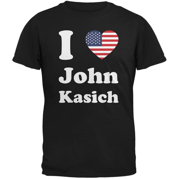 Election 2016 I Heart John Kasich Black Adult T-Shirt