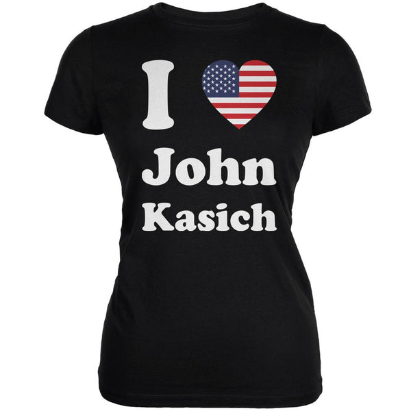 Election 2016 I Heart John Kasich Black Juniors Soft T-Shirt