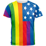 LGBT American Flag Rainbow All Over Adult T-Shirt